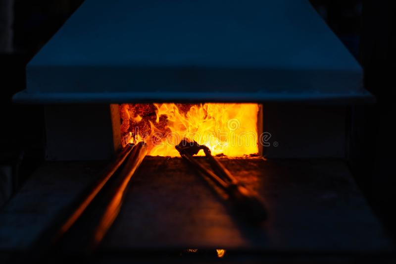 Flames blazing in a glass furnace. next tool.  stock images