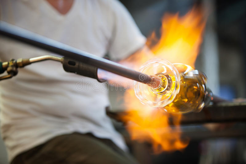 Flames On Fine Art Glass Stock Image