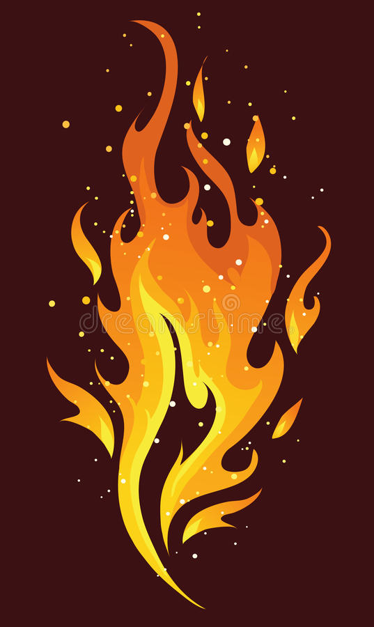 Flames and fire. Vivid burning flame on dark background vector illustration