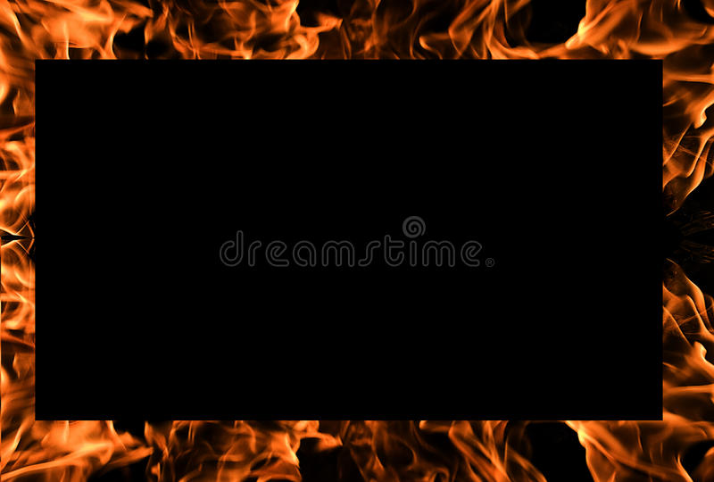 Flames of Fire Background Frame. With Black Copy Space stock photography