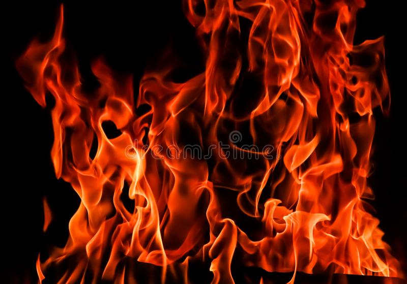 Flames of fire on a black background. The mystery of fire.  stock images