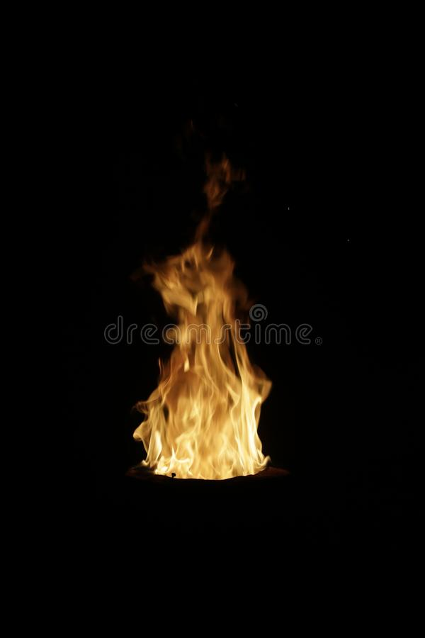 Flames fire on black inferno stock image