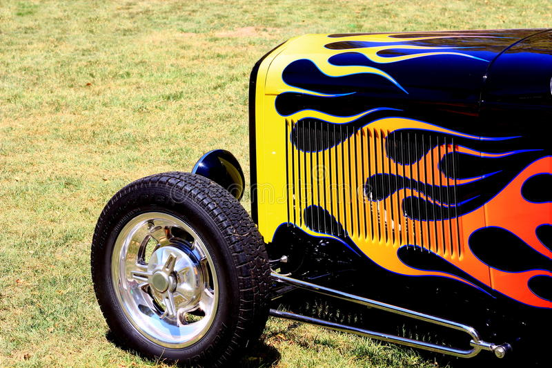Flames on a front end of a classic hotrod royalty free stock photos