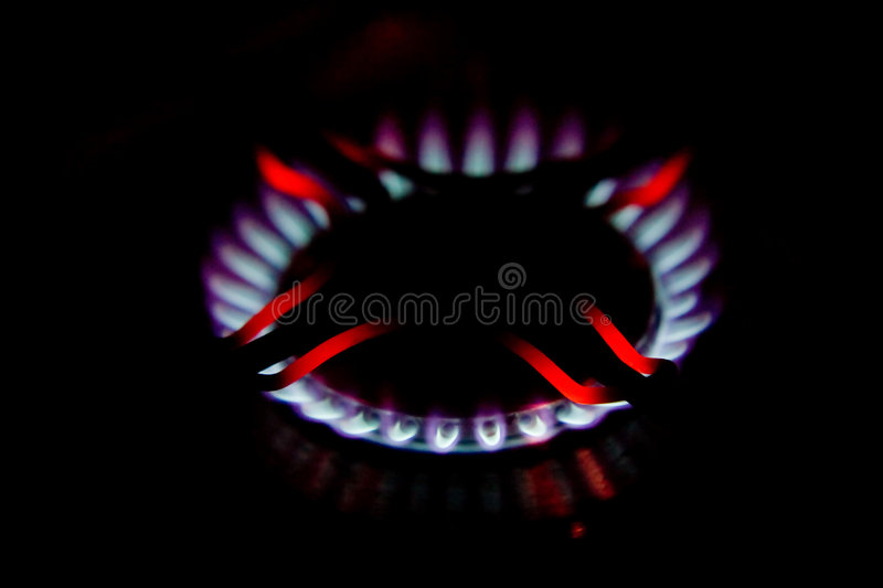 Flames of gas burner stock photo