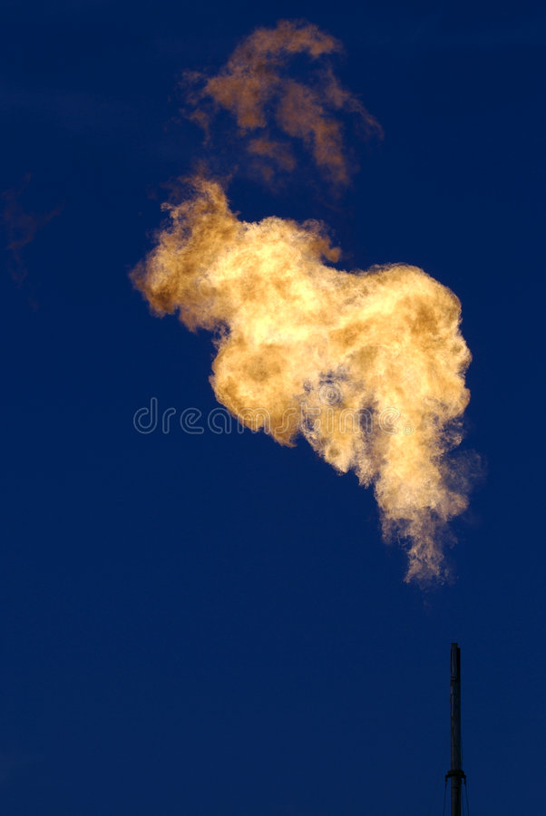 Flames from Gas Well stock photo