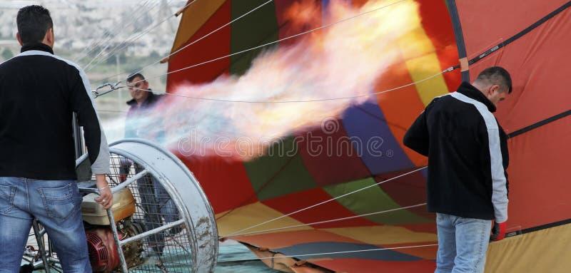 Flames Hot Air Balloon Roadies Getting Ready Editorial Photography