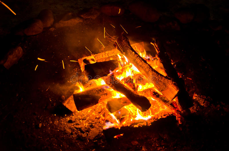 Flames lit the fire, warming his warmth in cold weather. Rules of safe breeding of fire. royalty free stock image