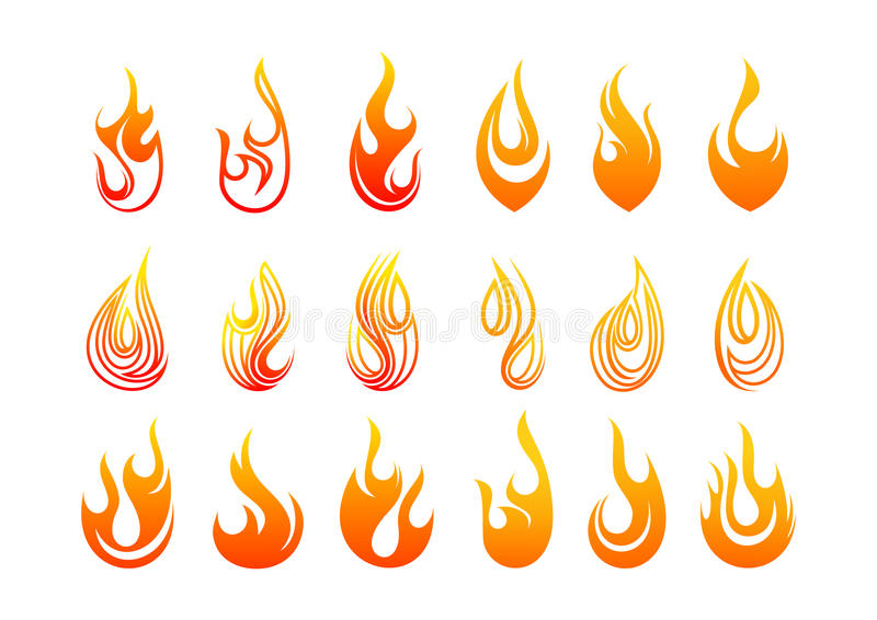 Flames logo design. Abstract flames logo design in a set in white background stock illustration