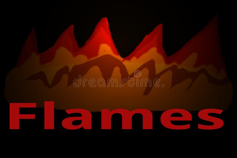 "Flames in the Night with the Word Flame. This is a digital art illustration. The word ""Flame"" with flames coming out stock illustration"