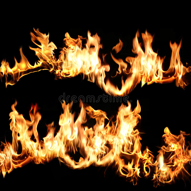 Flames over black stock photography