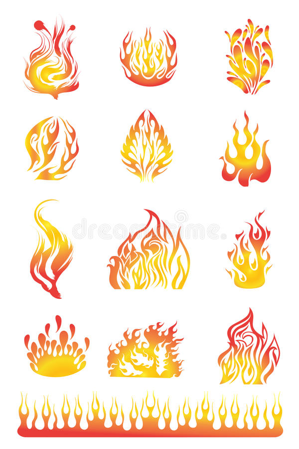 Flames set 01 vector illustration