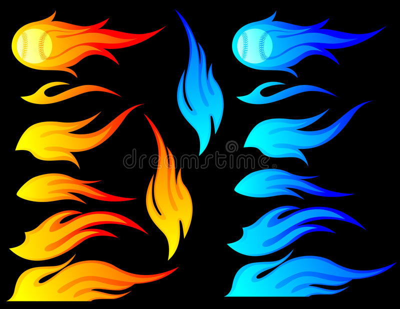 Flames Set. Set of different designs of flames in orange & blue. This set includes a design with a baseball on fire