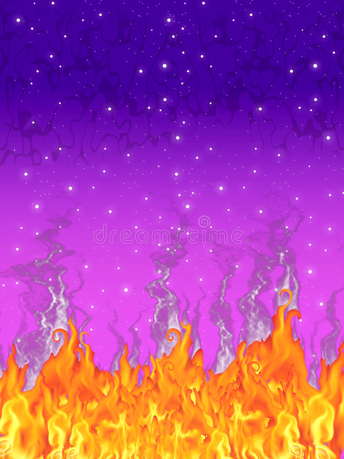 Flames in a starry night stock photography
