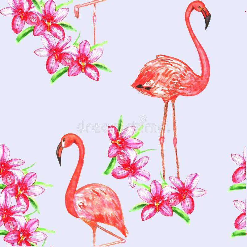 Flamindo y flores inconsútiles del wuth del modelo watercolor stock de ilustración