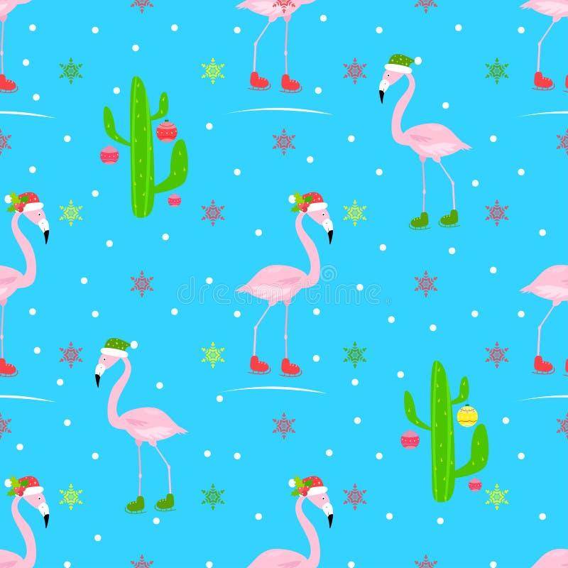 Flamingów bożych narodzeń wektoru bezszwowy wzór, jazda na łyżwach lodowisko, jeździć na łyżwach ilustracji