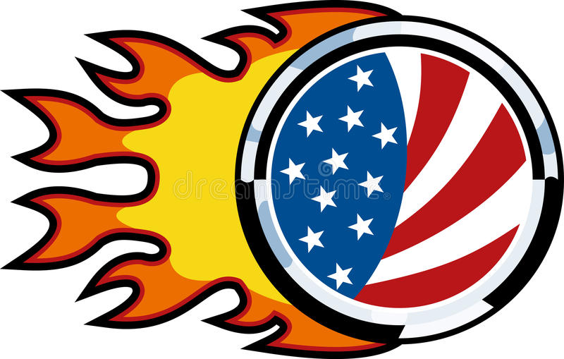 Download Flaming american flag fire stock illustration. Image of metallic - 15470188