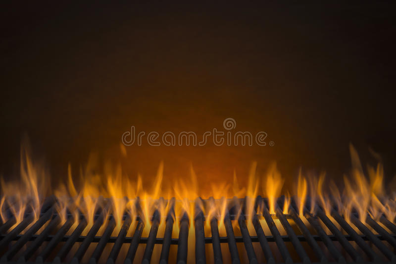 Flaming Barbecue Grill Background stock photo