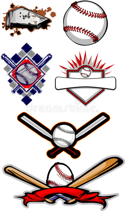 Flaming Baseball Softball and Bats. Vector Baseball and Softball Images stock illustration