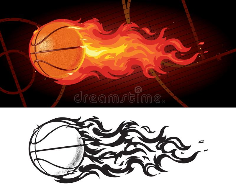 Basketball on Fire Zooming Across Court. A basketball in flames flying across a darkened basketball court, both in full color and a simplified black and white stock illustration