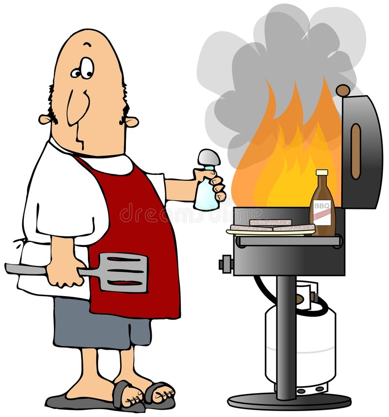 Flaming BBQ. This illustration depicts a man standing by a propane BBQ with giant flames stock illustration