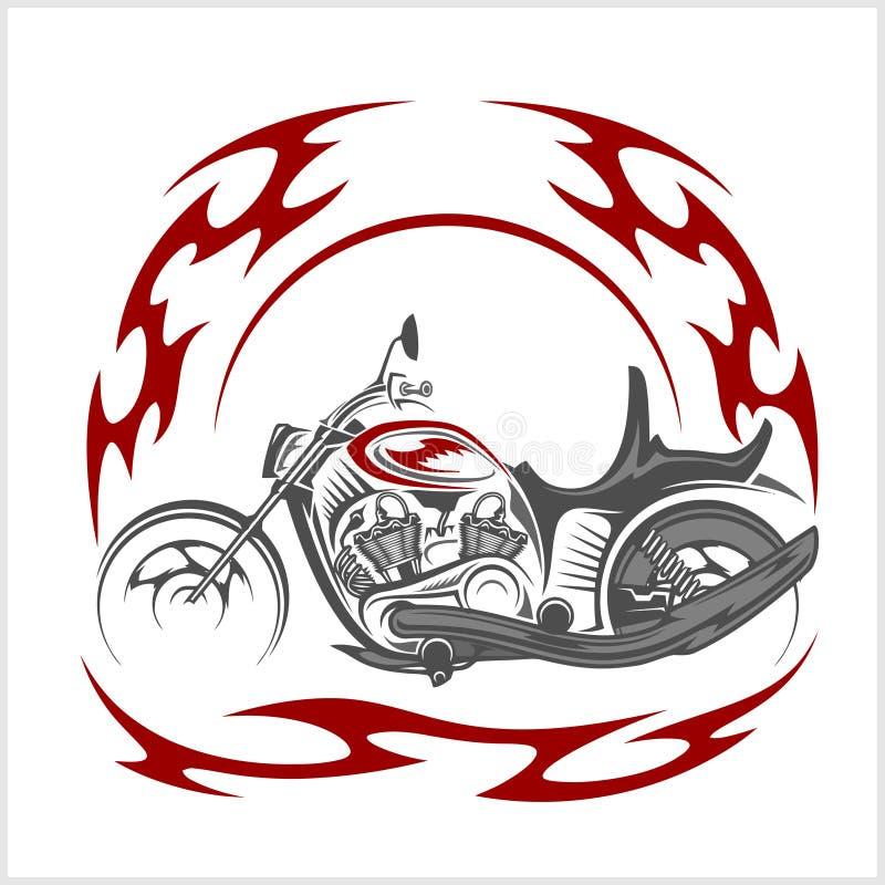 Flaming Bike - Retro Chopper and tribal flame stock illustration