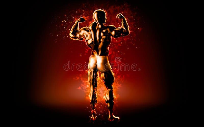 Flaming bodybuilder posing over black background. 3D illustration.  stock illustration
