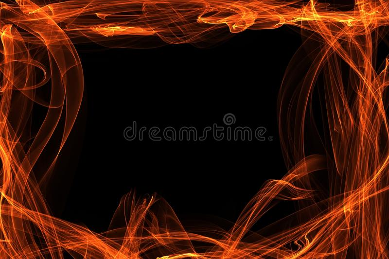 Flaming Border Around Black Background. Hot orange and yellow flames border a black background. Copyspace. Perfect for business cards, brochures or website stock images