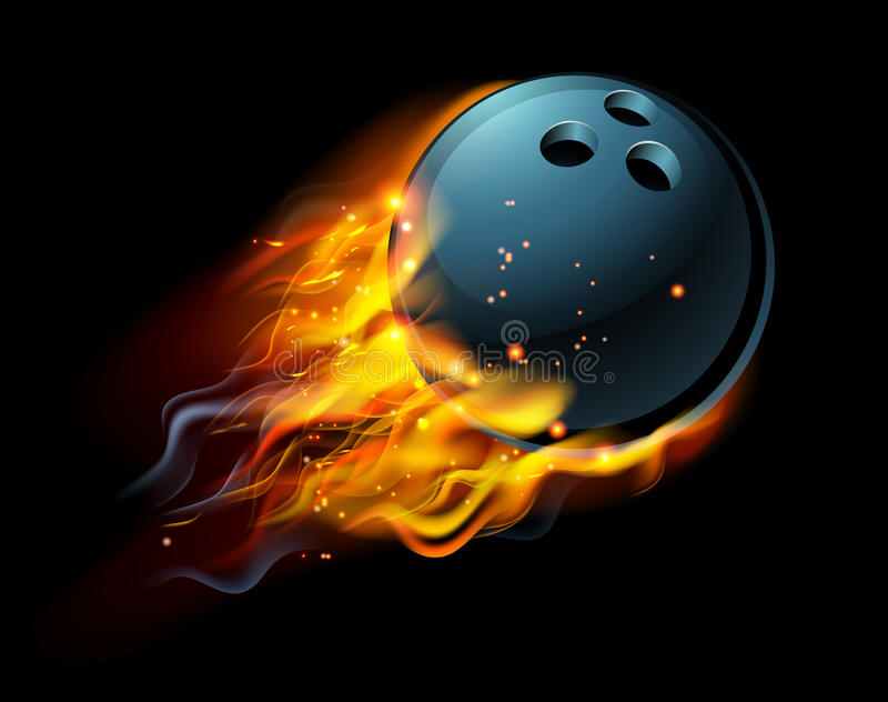 Flaming Bowling Ball. A flaming Bowling ball on fire flying through the air stock illustration