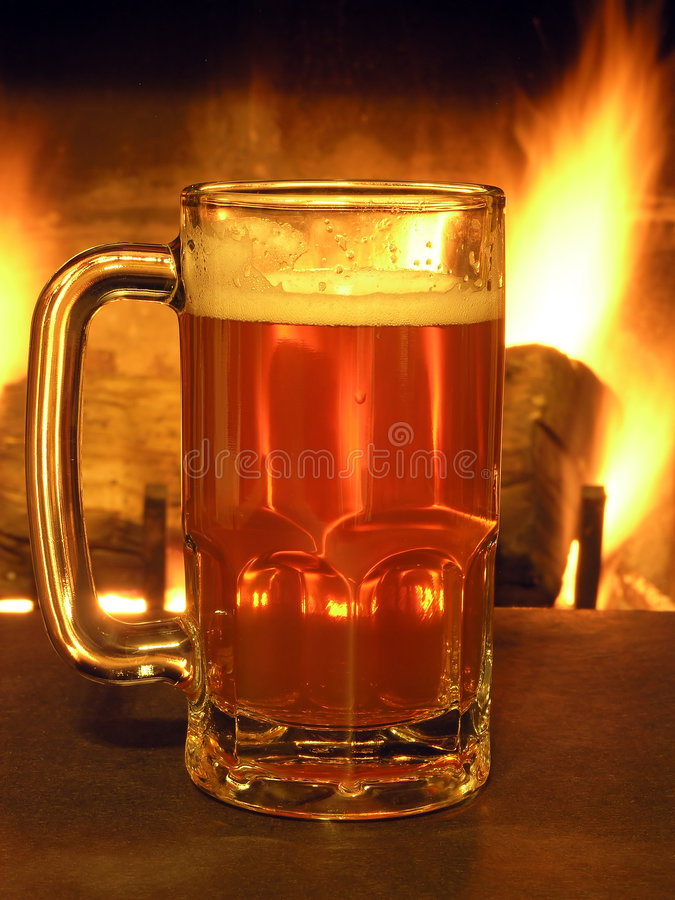 Download Flaming Brew stock photo. Image of alcohol, fireplace, beer - 444562