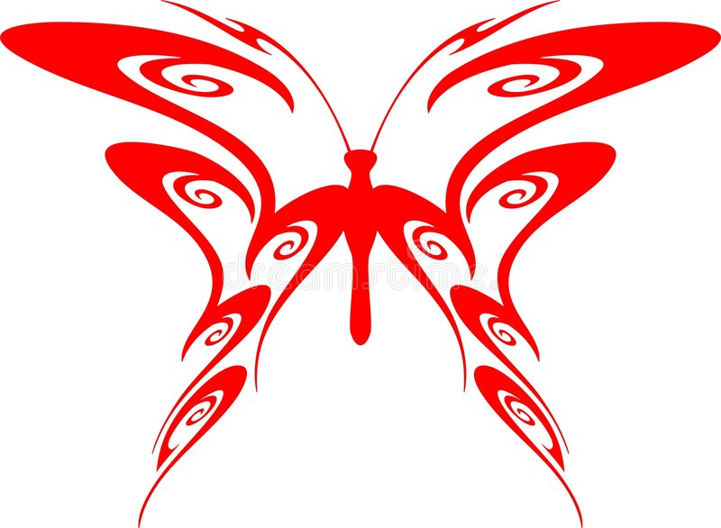 Flaming Butterfly Tribal (Vector) 7 stock illustration