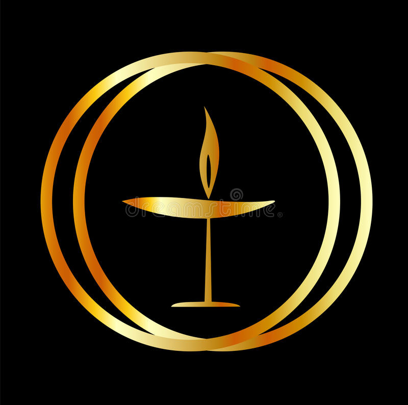 The Flaming Chalice. The symbol of Unitarianism and Unitarian Universalism vector illustration