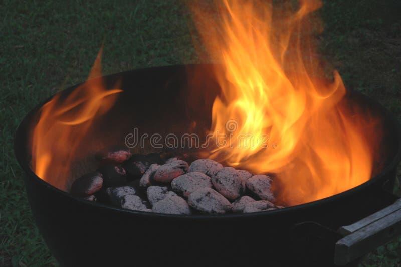 Flaming Charcoals Royalty Free Stock Photos