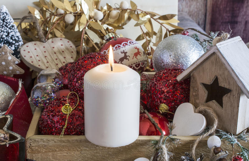 Flaming Christmas candle royalty free stock photos