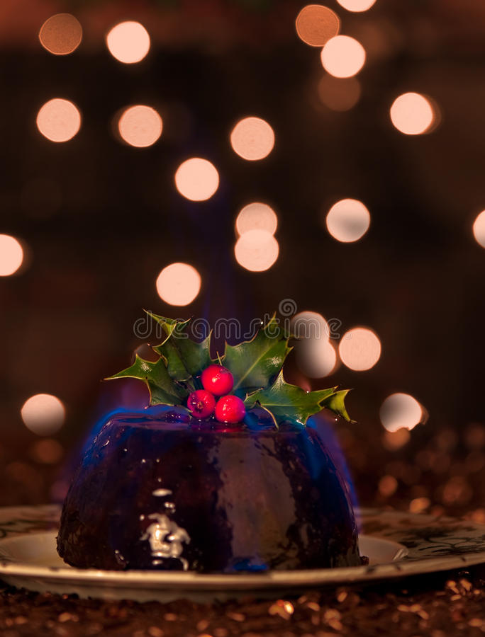 Flaming Christmas Pudding royalty free stock photo