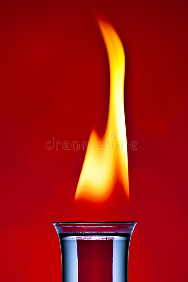 Flaming cocktail stock image