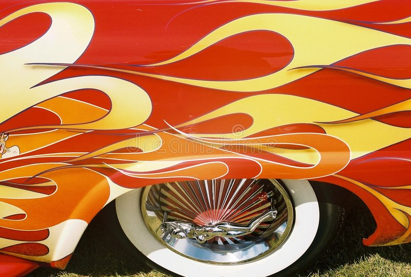 Download Flaming collectors car stock photo. Image of flames, rims - 120532