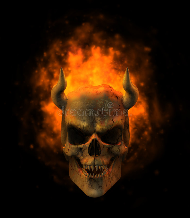 Flaming Demon Skull. 3D render of a horned demon skull surrounded by flames