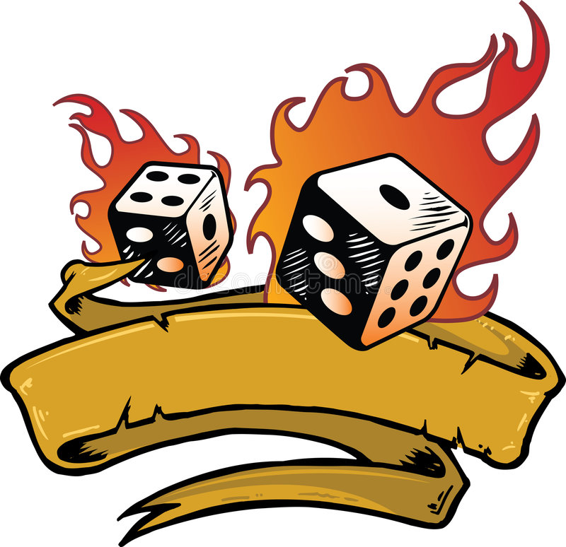 Flaming Dice Banner Vector Illustration Stock Photos