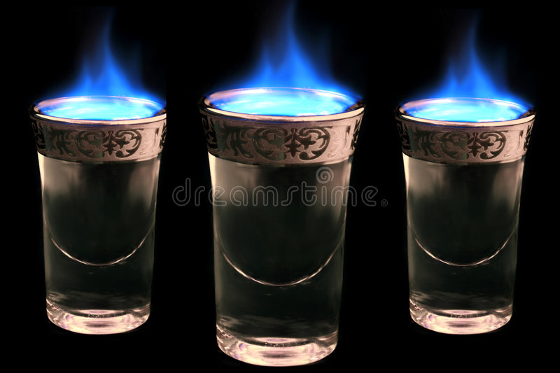 Flaming drinks royalty free stock photo