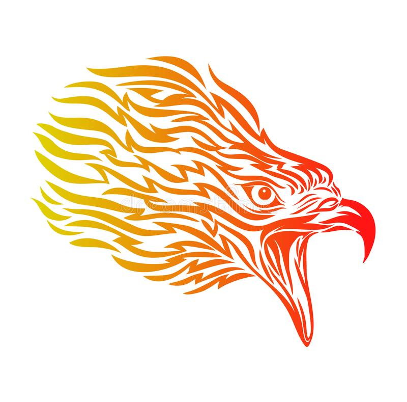 Flaming of Eagle Head, Head of Eagle Vector Illustration, Isolated Vector - Mascot Logo vector illustration
