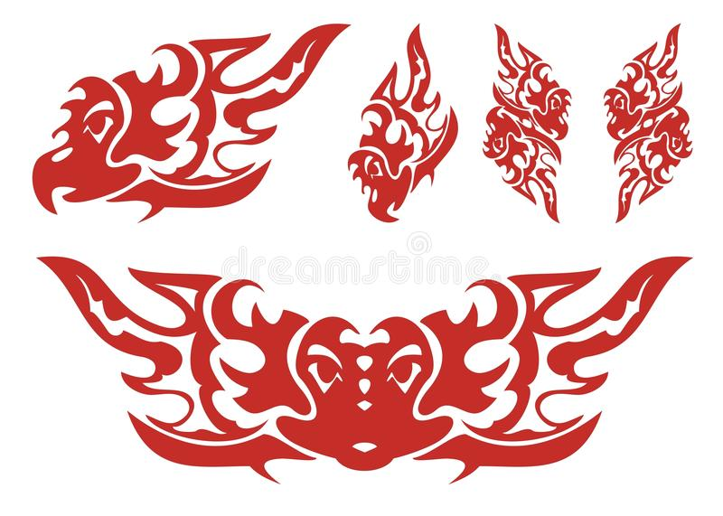 Flaming eagle symbols. Set of eagle symbols in the fire form. Red on the white stock illustration