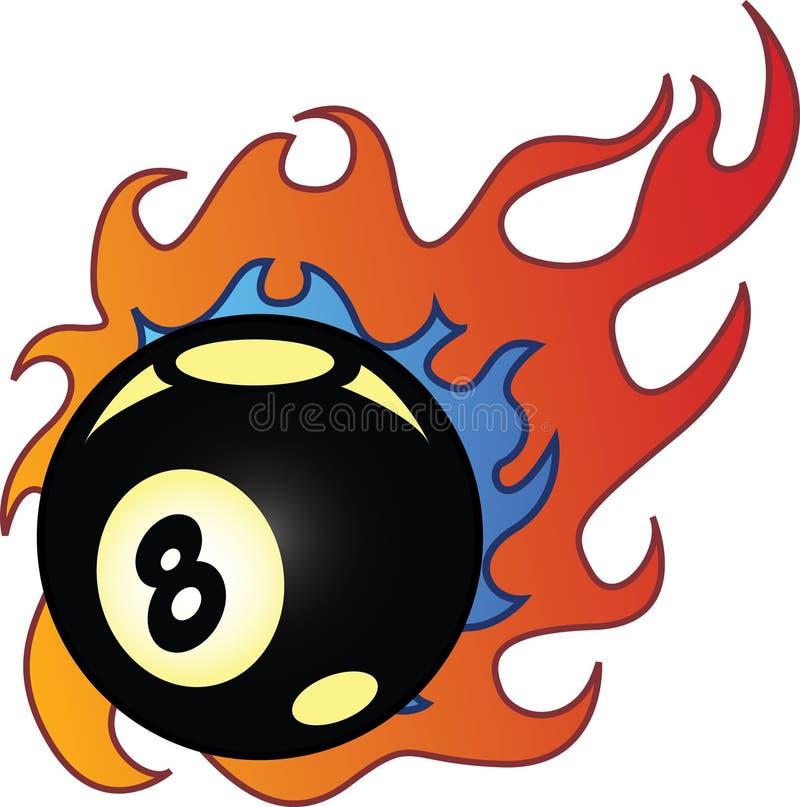 Flaming Eightball vector illustration stock photos