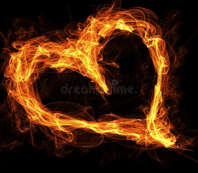 Flaming Fire Love Heart royalty free illustration