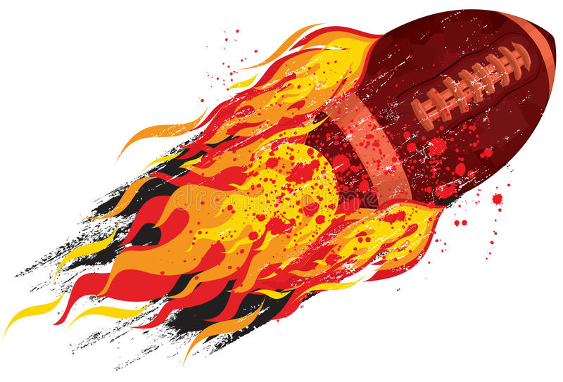 Flaming football. Flying over a white background vector illustration