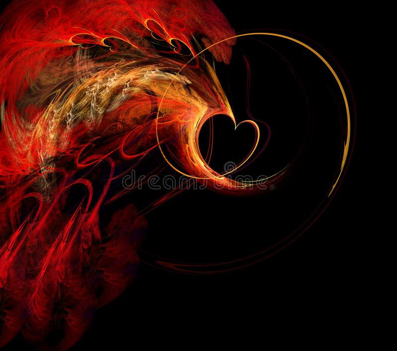 Download Flaming Fractal Heart stock illustration. Illustration of background - 3555285