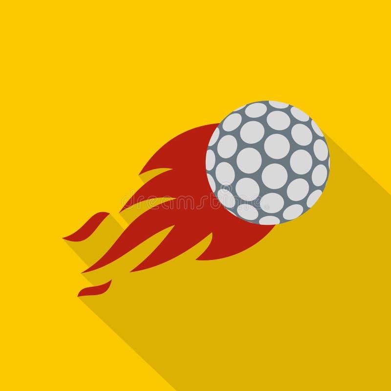 Flaming golf ball icon, flat style stock illustration