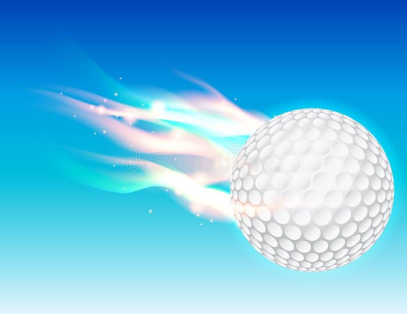 Flaming Golf Ball in Sky stock illustration