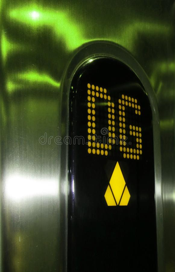 Display in an elevator in lightning green and yellow stock photos