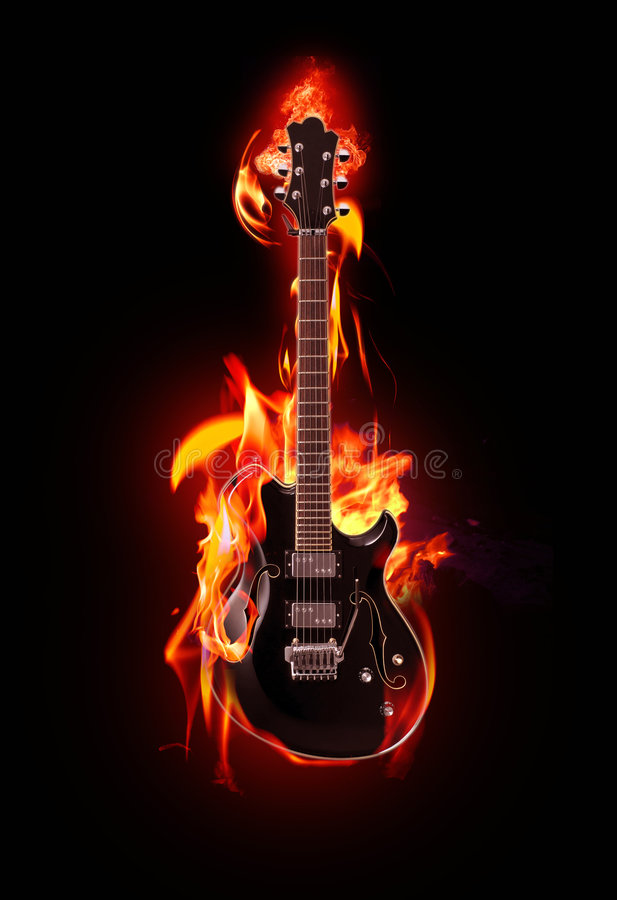Flaming Guitar Stock Illustration  Illustration Of Yellow