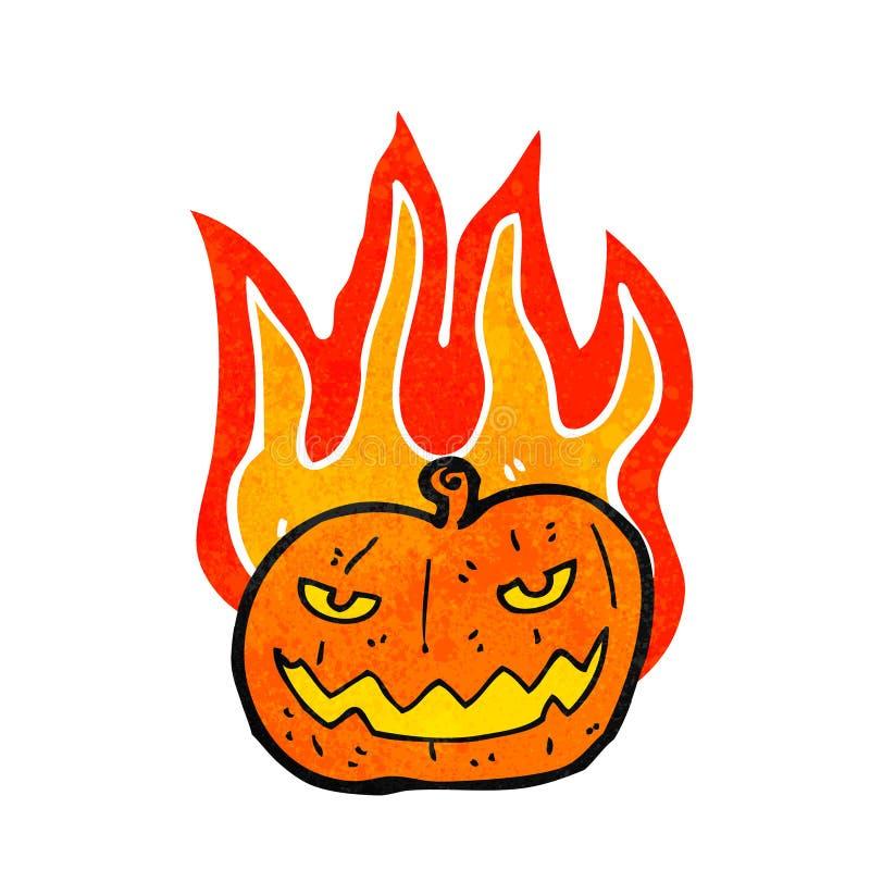 Flaming halloween pumpkin cartoon. Retro cartoon with texture. Isolated on White stock illustration